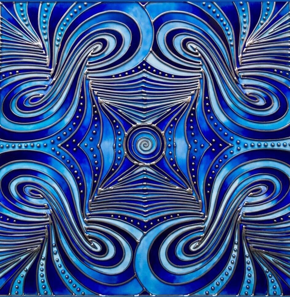 """""""Coeur bleu peureux"""" Thème de l'œuvre:  Encombrement 70cm X 70cm, 2018"""