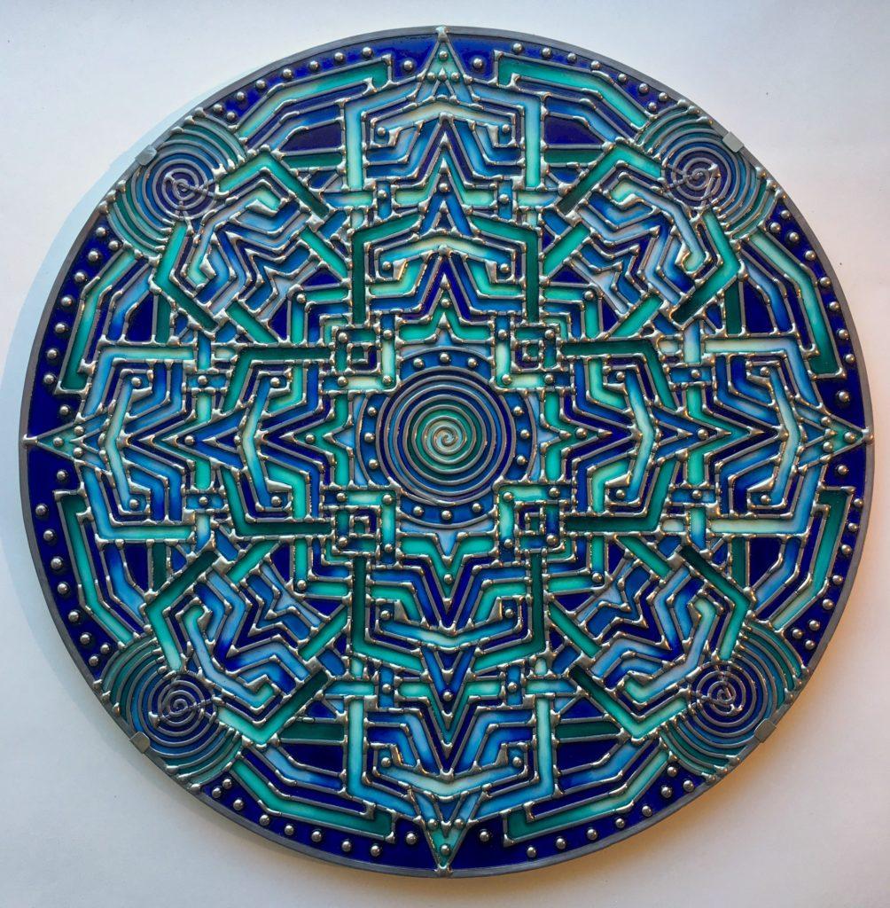 """""""Bambina blue"""" Thème de l'œuvre:  Labyrinthe diamètre 50cm, 2019"""